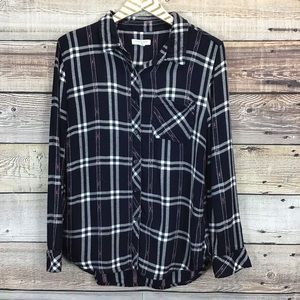 Beach Lunch Lounge Small Button Front Plaid Navy